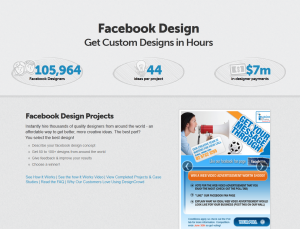 DesignCrowd.com Facebook Design contests overview page full size image