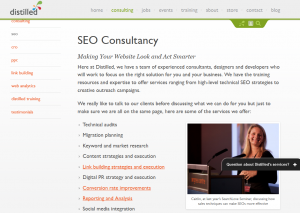 Distilled.net SEO consulting services overview page full size image