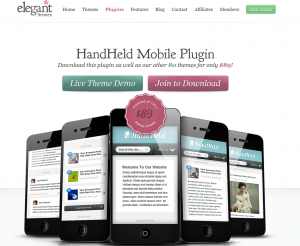 ElegantThemes.com HandHeld Mobile Wordpress Mobile Plugin overview page full size image