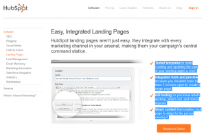 HubSpot.com Landing Page Software overview page full size image