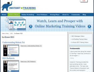 InstantETraining.com In-House SEO videos overview page full size image