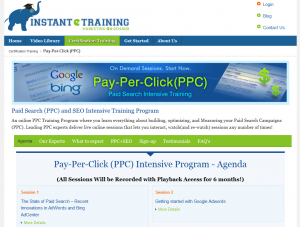 InstantETraining.com PPC Training Course overview page full size image