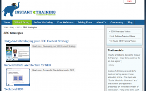 InstantETraining.com SEO Strategy videos overview page full size image
