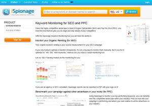 Ispionage.com Keyword Monitoring tool overview page full size image