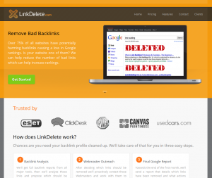 LinkDelete.com Link Removal Service home page full size image