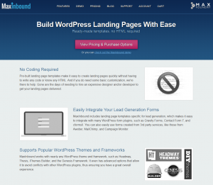 MaxInbound.com Landing Page Templates Plugin home page full size image