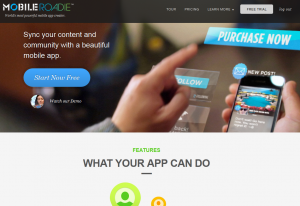 MobileRoadie.com Mobile website and app creator home page full size image