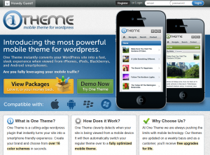 One-Theme.com Mobile Wordpress Theme home page full size image
