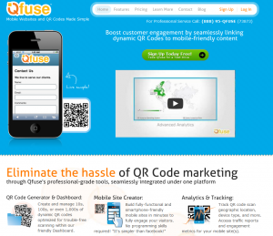 Qfuse.com mobile QR code generator home page full size image