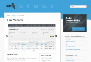 RavenTools.com Link Manager software overview page full size image