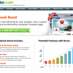 "Register.com ""Facebook Boost"" Fan Page Management service overview page full size image"