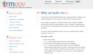 Rmoov.com Backlink Removal tool home page full size image
