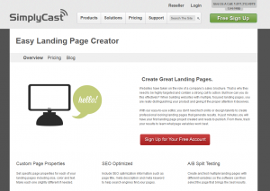 SimplyCast.com Landing Page Generator Software overview page full size image