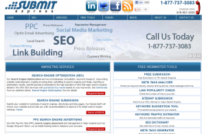 SubmitExpress.com SEO services home page full size image