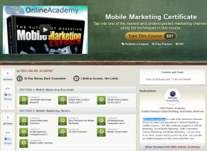 Udemy.com Mobile Marketing Certificate course overview page full size image