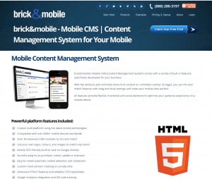 BrickandMobile.com Mobile Website Builder overview page full size image