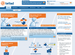 Teliad.com Backlink Marketplace home page full size image