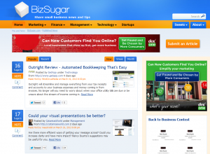 BizSugar.com Social Bookmarking home page full size image