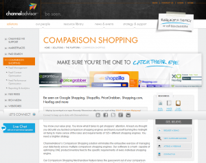 ChannelAdvisor.com Comparison Shopping Platform overview page full size image