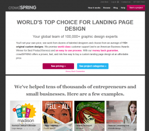 crowdSpring.com Landing Page Design overview page full size image