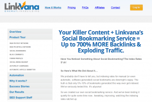 LinkVana.com Social Bookmarking service overview page full size image