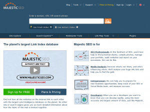 Majestic SEO (majesticseo.com) Link Intelligence Software home page full size image