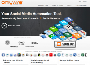 OnlyWire.com Social Media/Bookmarking submission software home page full size image