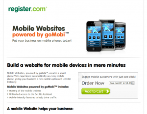 Register.com Mobile Website Builder sales page full size image