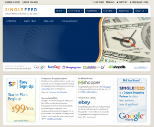 SingleFeed.com Shopping Data Feed Management Platform home page full size image