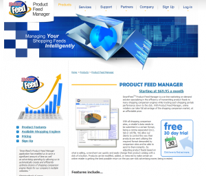 SmartFeed (www.productfeedmanager.com) Shopping Feed Management Services overview page full size image