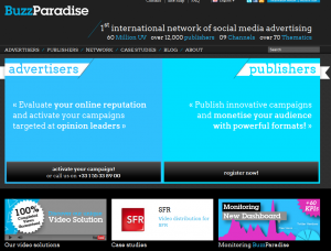 BuzzParadise.com Social Media Advertising Network home page full size image