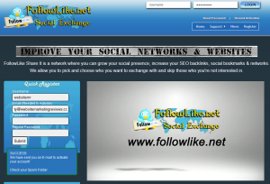 FollowLike.net Social Media Exchange Network home page full size image