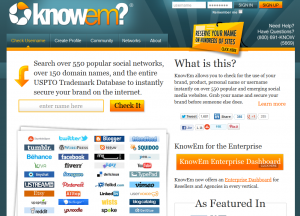 KnowEm.com Social Profile creation service home page full size image