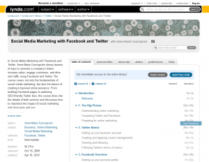 Lynda.com 'Social Media Marketing with Facebook and Twitter' course overview page full size image