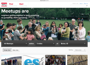 Meetup.com home page full size image