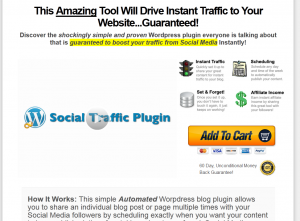 The Social Traffic Plugin (socialtrafficplugin.com) Wordpress SMM Plugin sales page full size image