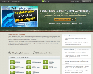 Udemy.com 'Social Media Marketing Certificate' course overview page full size image
