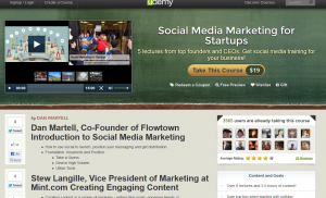 Udemy.com 'Social Media Marketing for Startups' course overview page full size image