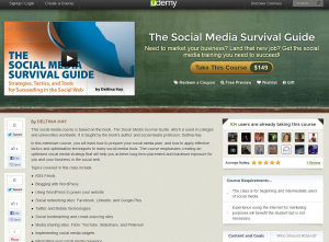 Udemy.com 'The Social Media Survival Guide' course overview page full size image
