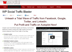 WP Social Traffic Blaster (wpsocial.com/plugins/wp-social-traffic-blaster) Wordpress SMM plugin sales page full size image