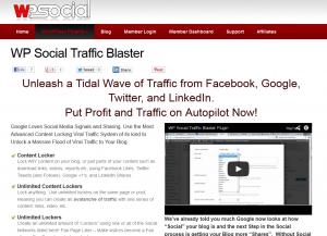 WP Social Traffic Blaster (wpsocial.com/plugins/wp-social-traffic-blaster) Wordpress SMM plugin sales page full size image