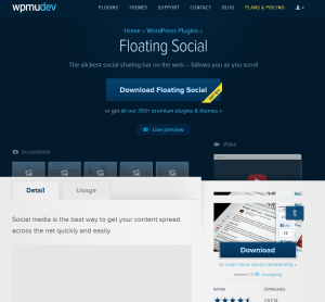 WPMU DEV 'Floating Social' (wpmudev.org/project/floating-social) Wordpress Plugin overview page full-size image