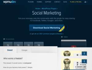 WPMU DEV Social Marketing Wordpress Plugin (wpmudev.org/project/social-marketing) overview page full size image