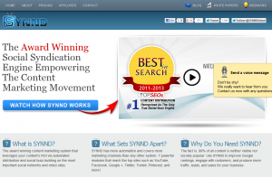 Synnd.com Social Media Marketing software home page full size image