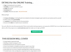 BootCampDigital.com Linkedin Training sales page full-size image
