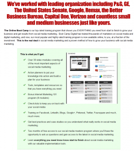 BootCampDigital.com 'Online Boot Camp' SMM course sales page full size image