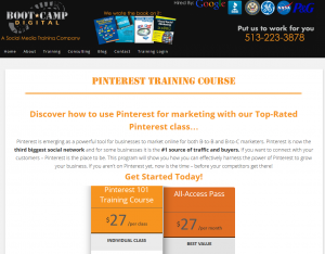 Boot Camp Digital: Pinterest 101 training course sales page full size image