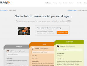 Hubspot.com Social Media Marketing software overview page full size image
