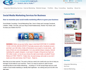 PrimeConcepts.com Social Media Marketing services page full size image