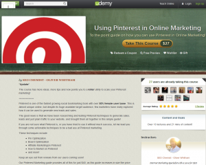 Udemy.com 'Using Pinterest in Online Marketing' course overview page full size image
